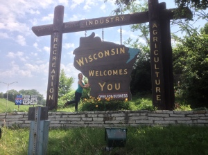 After stopping at the Mall of America for lunch (Awesome!), we wander into Wisconsin. Awesome cheese and a wicked cool welcome sign.