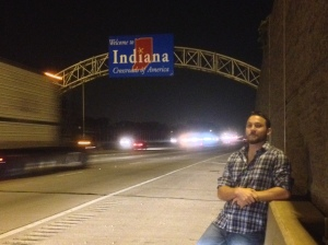 Sometime around midnight, we hit Indiana. A quick U-turn gives us a shot of Illinois.