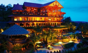 Taken from the resort's website. This is the main building with the massage rooms, the multiple levels of pools, saunas and springs, the valet, and the restaurants. The rooms are toward the bottom of the hill and well insulated.