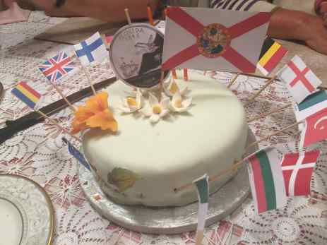 Mark's sweet and tangy lemon cake handmade by our host and decorated with the flags of all the countries we visited.